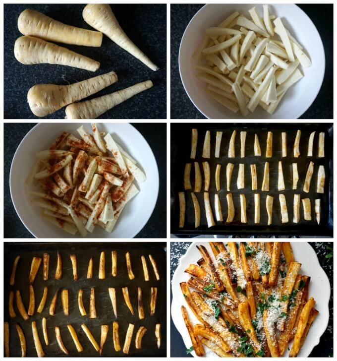 Collage of 6 photos to show step-by-steo instructions how to make baked parsnip fries