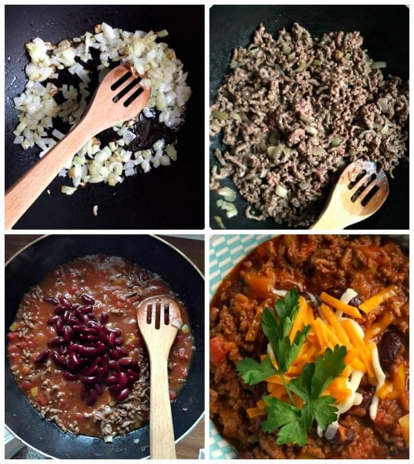 Collage of 4 photos to show step-by-step instructions how to make the best homemade chili with beans