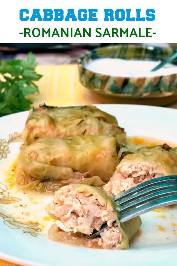 Easy Stuffed Cabbage Rolls with gorund chicken and rice, or the Romanian Sarmale, the country's national dish.  Christmas and other important holidays would not be the same without these amazing cabbage rolls. This is really the best recipe you can get.