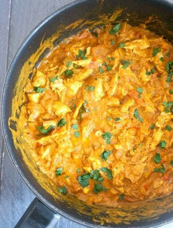 Overhead shoot of a pot with chicken tikka masala curry