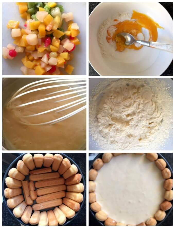 A collage of 6 photos to show step-by-step insyructions how to make Charlotte Cake
