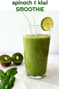 Lime Kiwi Spinach Smoothie, a delicious drink loaded with all the nature's goodness. It's got all the vitamins and minerals you can think of, plus it's diary free, making it suitable for vegans too. This is really a magic drink!
