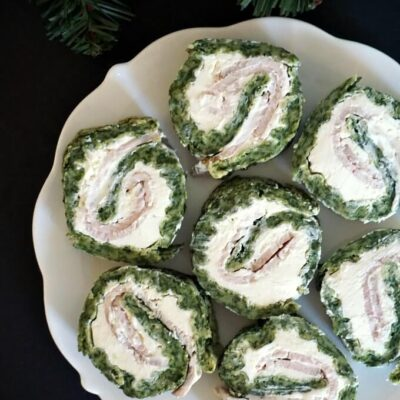 Spinach Roll Ups with Ham and Cream Cheese