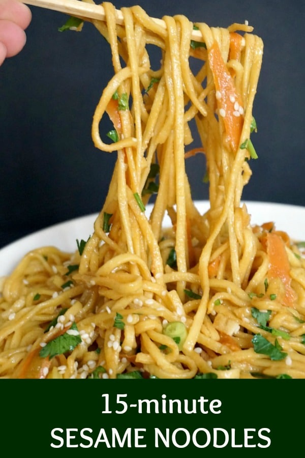 Sesame Noodles, a delicious and healthy Chinese recipe that is ready in about 15 minutes. The quickest and easiest vegetarian dinner for busy families. So flavourful, easy to make,  these noodles are a great as a working lunch too.