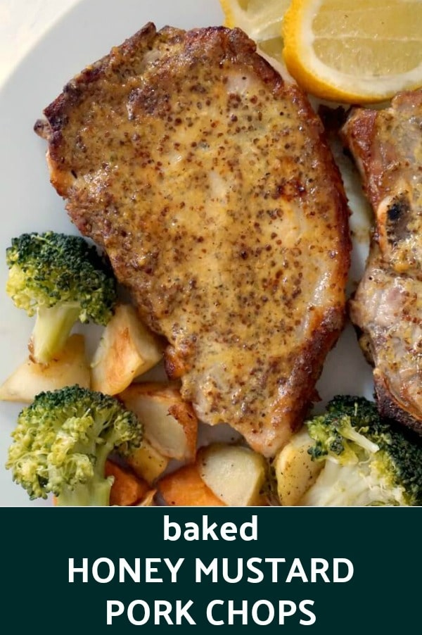 Low-Carb Baked Honey Mustard Pork Chops with broccoli, potatoes and carrots, a super delicious low-carb meal for two. Super simple to make, with a fantastic honey mustard sauce, this recipe is sheer bliss.