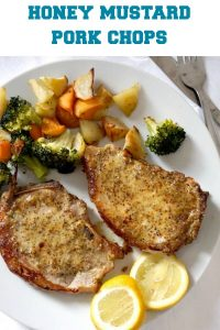 Baked Honey Mustard Pork Chops with broccoli, potatoes and carrots, a super delicious meal for two. Super simple to make, with a fantastic honey mustard sauce, this recipe is sheer bliss. A low carb, high protein, keto recipe.