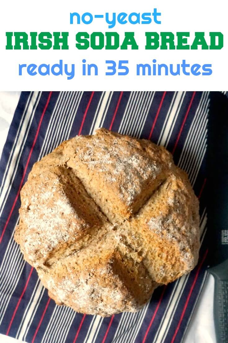 Traditional Irish Soda Bread, a fantastic crusty bread that needs no yeast, no kneading, and you get golden heaven on your table in only 35 minutes. A delicious homemade bread recipe that tastes like heaven.