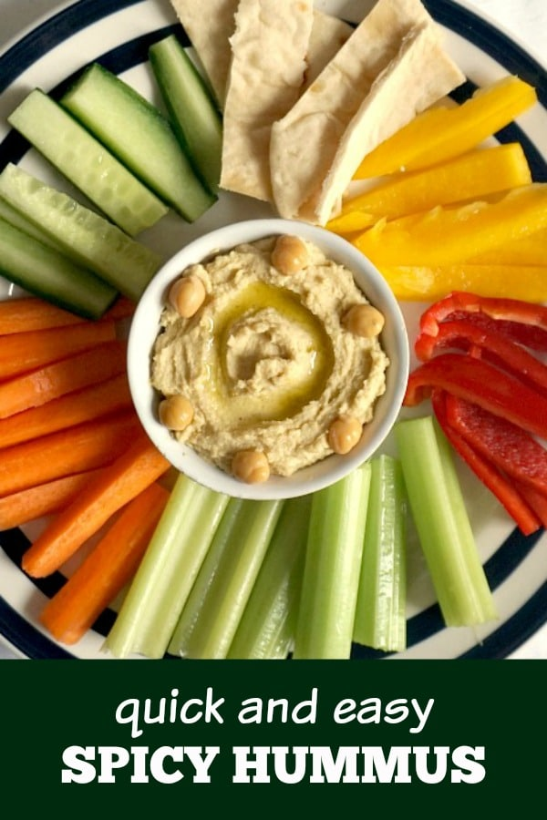 Spicy Hummus Recipe With Tahini, a delightful vegan appetizer for all tastes. Super healthy, nutritious, it makes a great healthy snack for kids and grown-ups alike. Serve with vegetable sticks or pitta bread, it's ready really quickly.