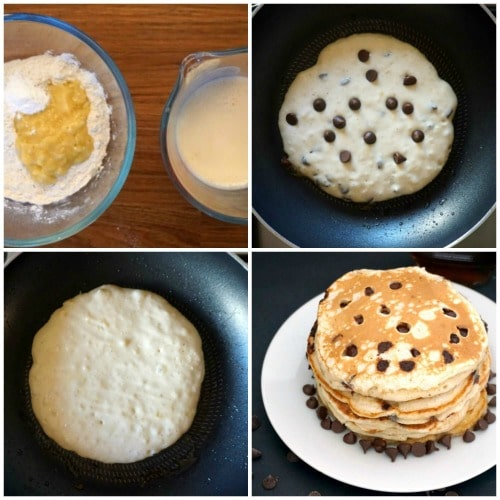 Collage of 4 photos to show how to make banana chococlate chip pancakes
