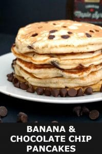 Banana Chocolate Chip Pancakes, the ideal indulgent breakfast or brunch. Fluffy, super easy to make, and ready in about 15 minutes or less, these pancakes are not to be missed. A real treat for the whole family on Pancake Day.