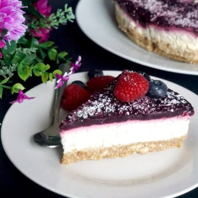 Healthy Coconut Cheesecake with Berry Jelly