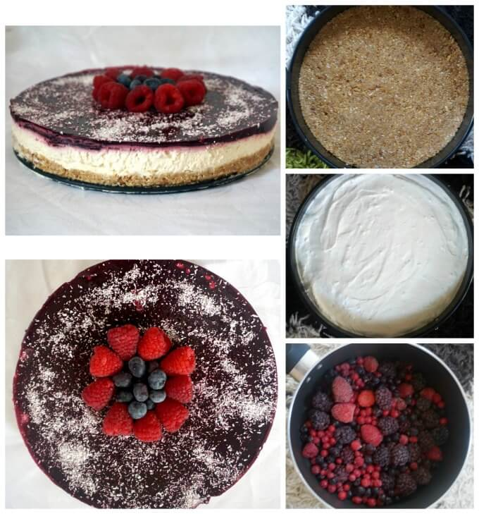 Collage of 5 photos to show how to make coconut cheesecake with berry coulis