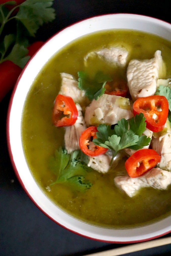 Overshead shot of a bowl of Thai Green Chicken Curry