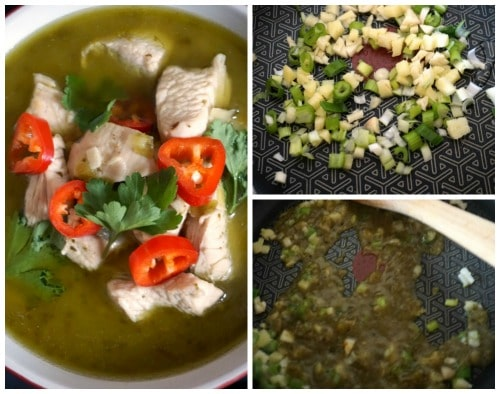 Collage of 3 photos to show how to make Thai Green Chicken Curry