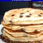 Banana Chocolate Chip Pancakes, an indulgent breakfast or brunch. Fluffy, super easy to make, and ready in about 15 minutes or less, these pancakes are a real treat for the whole family on Pancake Day, or any other day of the year. They have no refined sugar added, their sweetness coming from the mashed banana and, of course, the chocolate chips. Only a few basic ingredients, and you have the best homemade pancakes. #bananachocolatechippancakes, #pancakes, #chocolatechips, #pancakeday