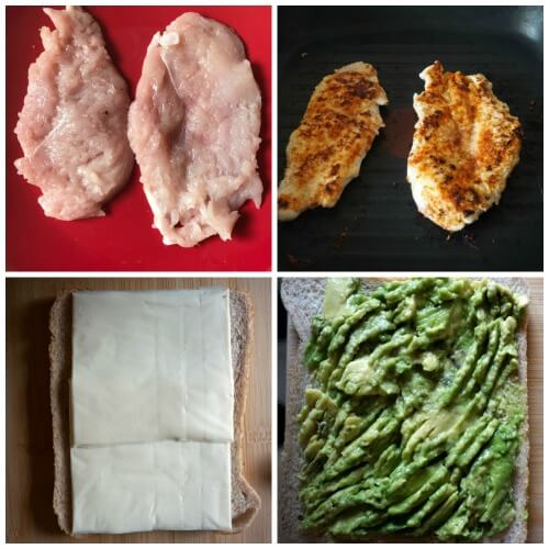 Collage of 4 photos to show how to make grilled chicken avocado sandwich