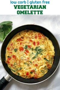 World's Best Vegetarian Omelette, for a healthy and happy start of your day. It is too easy to make, and the secret to an absolutely great omelette is using fresh ingredients. You'd be surprised how this omelette tastes like a restaurant one. Low carb, gluten free, keto-friendly recipe for breakfast or brunch.