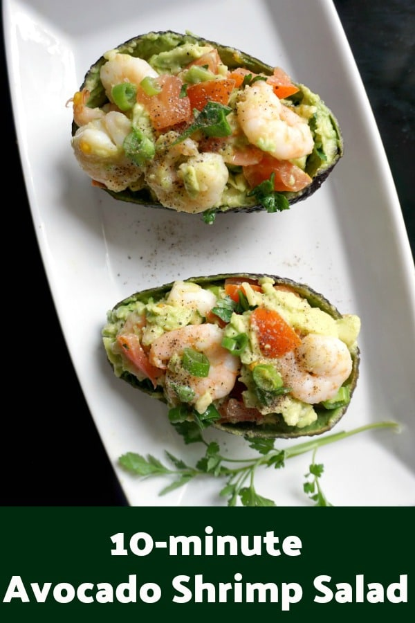 Healthy Avocado Shrimp Salad, low carb, high protein, gluten free, ready in just 10 minutes. This salad is a great summer recipe, but also great all year around.
