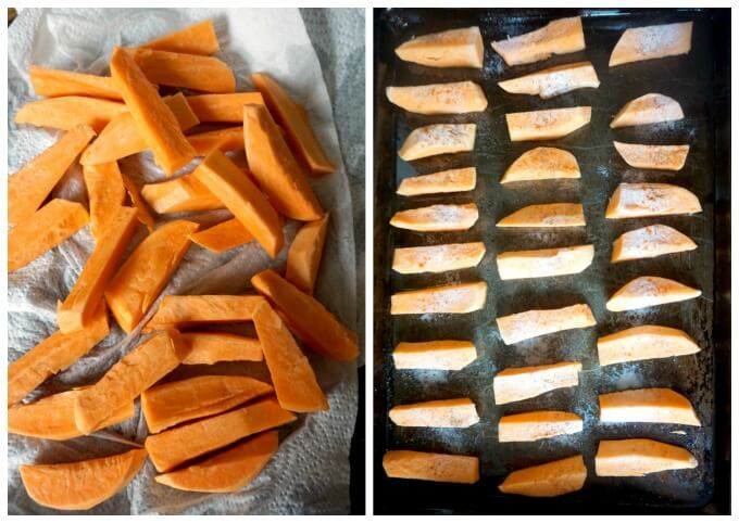 Collage of 2 photos to show how to make crispy baked sweet potato fries