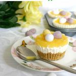 Mini Lemon Cheesecakes with Easter Eggs are the best dessert for Easter. The bite-size treat has such a mixed range of textures and tastes. The base is crunchy, yet crumbly at the same time, while the cream cheese filling is rich, soft and sweet, and the lemon curd brings sharpness and freshness. And then you have the chocolatey mini eggs. Can it get any better than this?