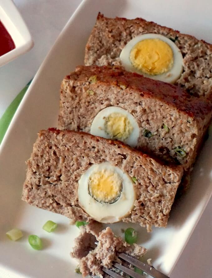 3 slices of moist turkey meatloaf stuffed with hard-boiled eggs