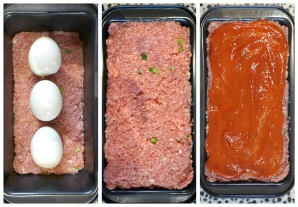 Collage of 3 photos to show how to make moist turkey meatloaf stuffed with hard-boiled eggs