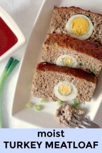 Moist Turkey Meatloaf stuffed with hard-boiled eggs, a delicious Easter appetizer that can be enjoyed all year round. Healthy, super easy to make and a big hit with the whole family.