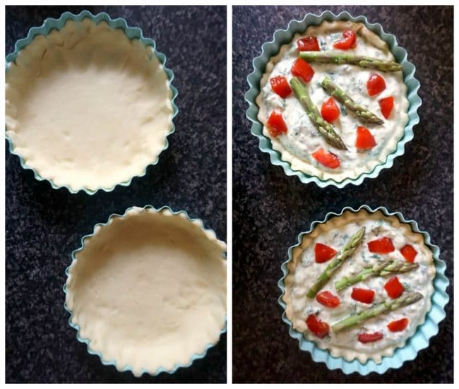 Collage of 2 photos to show how to make asparagus tartlets