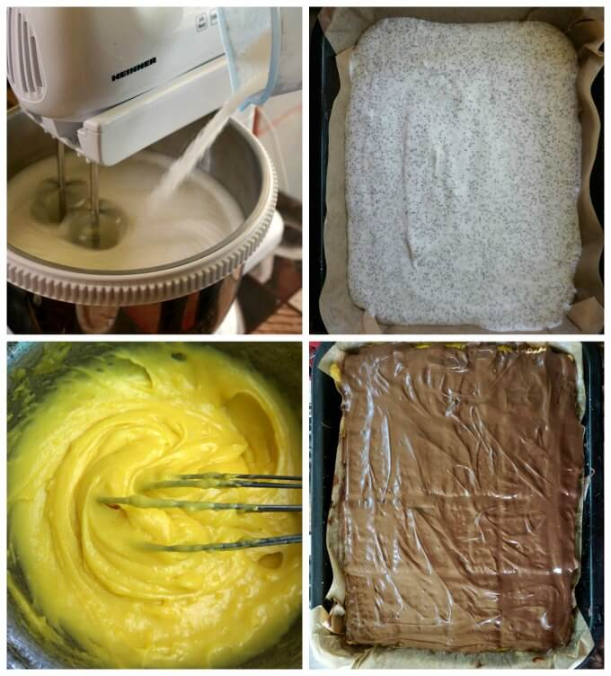 A collage of 4 photos to show how to make poppy seed cake with homemade vanilla custard and nutella