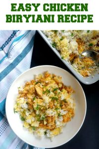 Easy Chicken Biryani Recipe, a delicious chicken dinner that is bursting with amazing flavours. Rice cooked to perfection and chicken cooked in fragrant, but mild Indian spices are combined in one fanstastic dish that everyone in the family can enjoy.