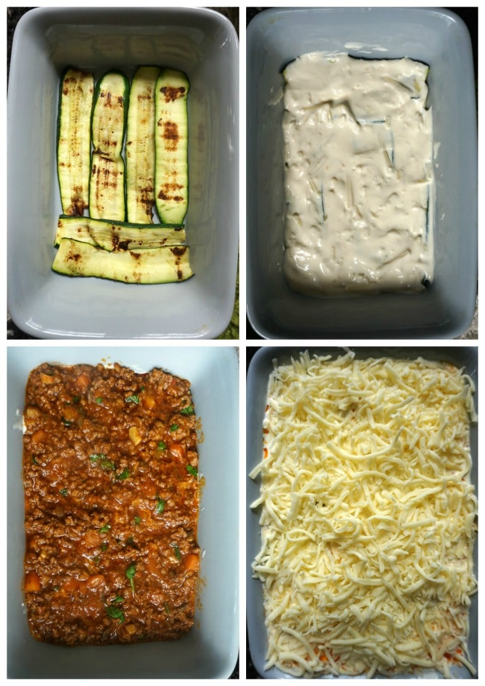 Collage of 4 photos to show how to make high protein low carb zuccini lasagna