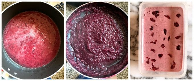 Collage of 3 photos to show how to make homemade no churn cherry ice cream