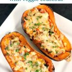 Stuffed Butternut Squash with Couscous and Vegetables, a delicious and healthy vegetarian dish inspired by the colours of Fall. A great dish for your Thanksgiving dinner, but also fantastic all year around.