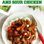 Healthy sweet and sour chicken, a 15-minute healthy recipe for dinner. A fantastic sweet and sour chicken sauce and fluffy stir fry rice, always a winner!