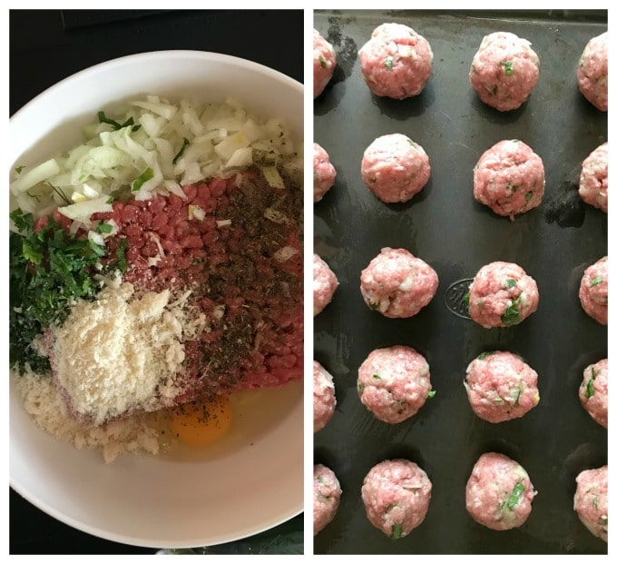 Collage of 2 photos to show how to make baked italian meatballs