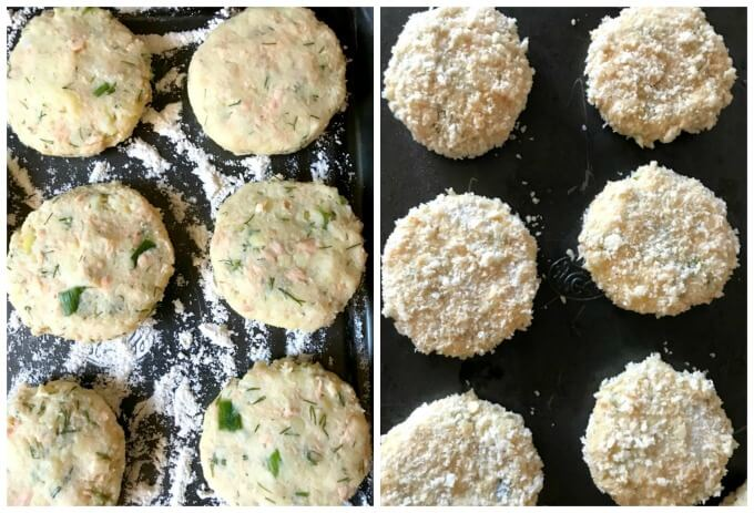 Collage of 2 photos to show how to make baked salmon patties