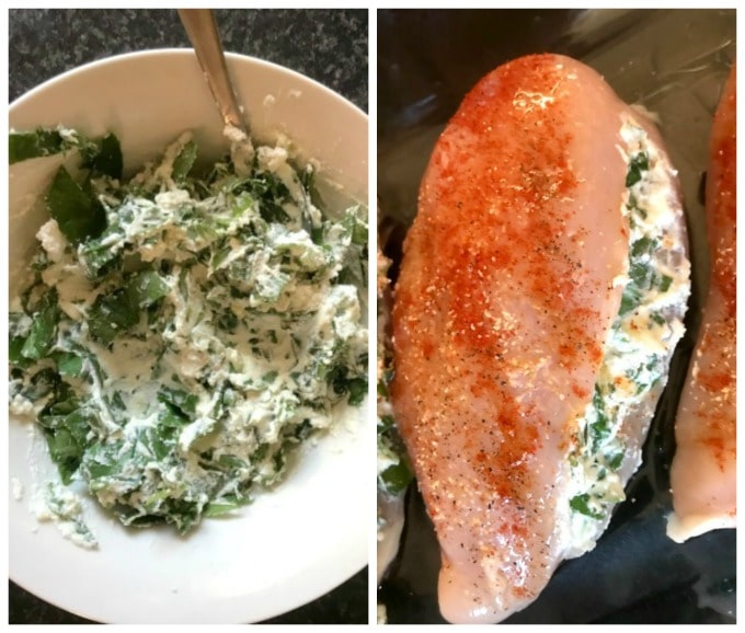 Collage of 2 photos to show how to make baked spinach-stuffed chicken breast