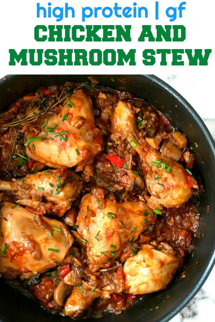 Chicken Stew with Mushrooms, a delicious one-pot dish that is bursting with the most amazing flavours. Easy to make, it only requires a few simple ingredients. No oven required. A healthy chicken dinner recipe that is high protein and gluten free.