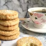 Coconut Shortbread Cookies, a quick fix when you feel like snacking, and your sweet tooth is craving something yummy. Soft, almost melting in your mouth, buttery, full of coconut flavour, these cookies are absolutely delicious!