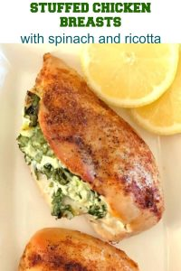Baked Spinach-Stuffed Chicken Breast with ricotta, a healthygluten free,low-carb, high-protein recipe that is super delicious, and super easy to make. My favourite chicken dinner recipe with only 300 calories per serving.