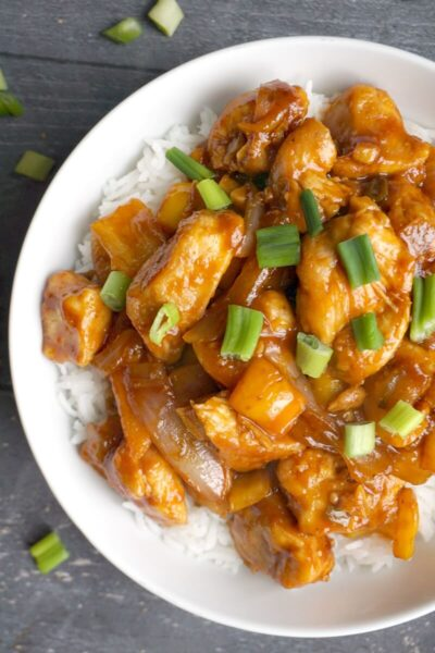 Overhead shoot of half a plate with sweet and sour chicken