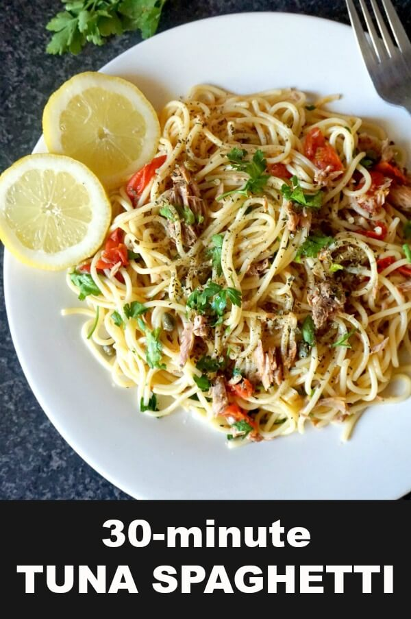 Quick Tuna Spaghetti, a fabulous dish that is ready in about 30 minutes. It might be simple to make, but it's jam-packed with fantastic flavours. Low in calories, highly nutritious and delicious, this is a great family-favourite pasta recipe.