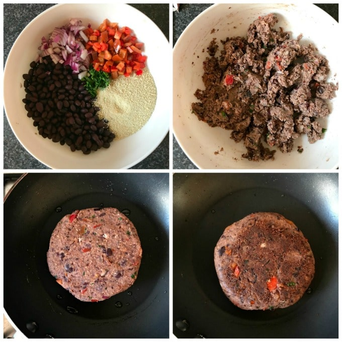 Collage of 4 photos to show how to make vegan black bean burgers