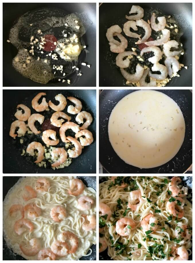 Collage of 6 photos to show step by step intructions how to make shrimp alfredo pasta