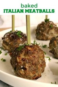 Baked Italian Meatballs with ground beef and parmesan, a fantastic low-carb appetizer for any occasion. A lot healthier than the fried meatballs, but so juicy, flavourful, and as quickly to make. Serve them with a nice tomato sauce, or just on their own with lots of grated parmesan and fresh parsley.