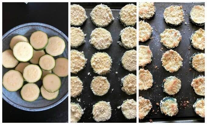 Collage of 3 photos to show how to make baked zucchini chips