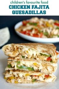 Chicken Fajita Quesadillas, a heavely delicious recipe that is officially children's favourite food. Perfect as a back to school lunch idea for picky eaters, or a healthy dish to take out for picnics or playdates. They are super easy to make, healthy and nutritious.