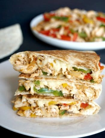 A stack of 3 chicken fajita quesadillas