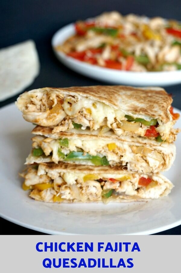 Looking for back to school lunch ideas for picky eaters? Kids will wolf down these Chicken Fajita Quesadillas and ask for seconds. Super easy to put together, healthy, full of flavour and simply delicious, my chicken quesadillas will be a big hit with the whole family.
