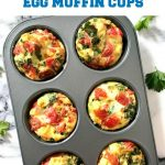 Healthy Breakfast Egg Muffin Cups with Kale and Tomatoes, a delicious and highly nutritious breakfast recipe that is low carb, low calorie, and jam-packed with super healthy vegetables. Great as a breakfast on the go too.